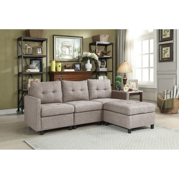 Shop Grey Linen Fabric Modular 4 Piece Sectional Sofa Free Shipping Today Overstock 22749991