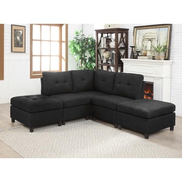 Shop Charcoal Linen Fabric 5 Piece Reversible Modular Sectional Sofa