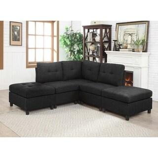 5pcs Charcoal Linen Fabric Modular Sectional Sofa