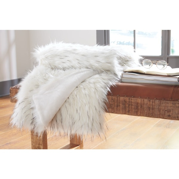 Calisa White Faux Fur Throw Blanket