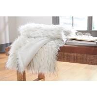 Calisa White Faux Fur Throw Blanket
