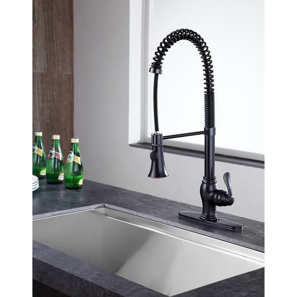 Shop ANZZI Bastion Single Handle Pull Down Kitchen Faucet in ...