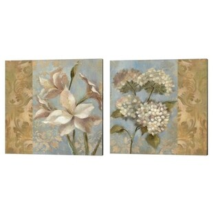 Silvia Vassileva 'Amaryllis & Hydrangea on Soft Blue' Canvas Art (Set of 2)