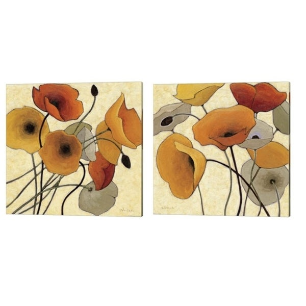Shirley Novak 'Pumpkin Poppies' Canvas Art (Set of 2)