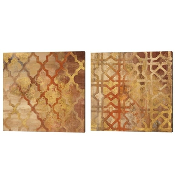 Albena Hristova 'Gilded Trellis & Gilded Rocking Moroccan' Canvas Art (Set of 2)