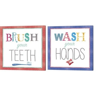Fiona Stokes-Gilbert 'Wash Your Hands & Brush Your Teeth' Canvas Art (Set of 2)
