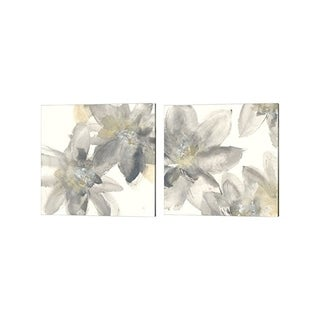 Chris Paschke 'Gray and Silver Flowers' Canvas Art (Set of 2)