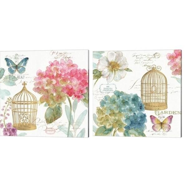 Lisa Audit 'Rainbow Seeds Floral Birdcage' Canvas Art (Set of 2)