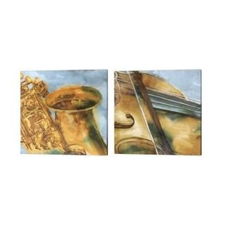 Eva Watts 'Musical Violin & Sax' Canvas Art (Set of 2)