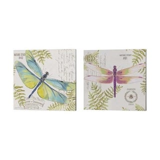 Jean Plout 'Botanical Dragonfly' Canvas Art (Set of 2)