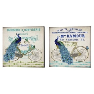 Jean Plout 'Peacock On Bicylce' Canvas Art (Set of 2)