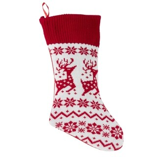 Red & White Reindeer Sweater Christmas Stocking