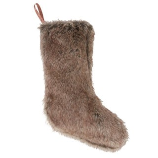 Faux Fur Christmas Stocking In Natural Brown Color