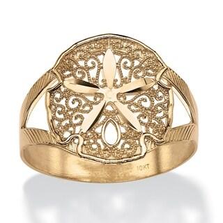 10K Yellow Gold Diamond Cut Sand Dollar Ring