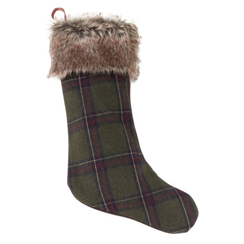 Christmas Stocking With Faux Fur And Plaid Design