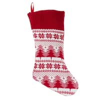 Red And White Holiday Stocking With Christmas Tree Design