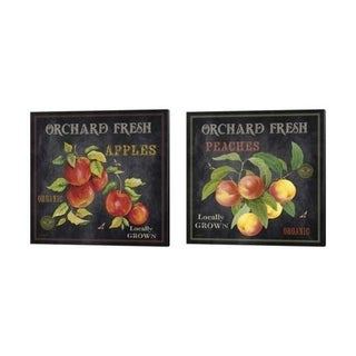 Jean Plout 'Orchard Fresh Peaches & Apples' Canvas Art (Set of 2)