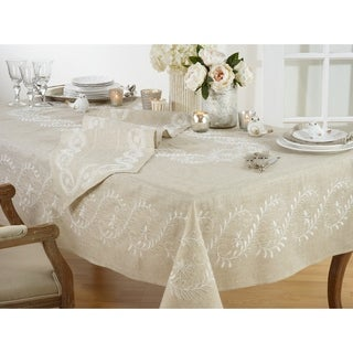 Embroidered Floral Tablecloth In Natural Tones