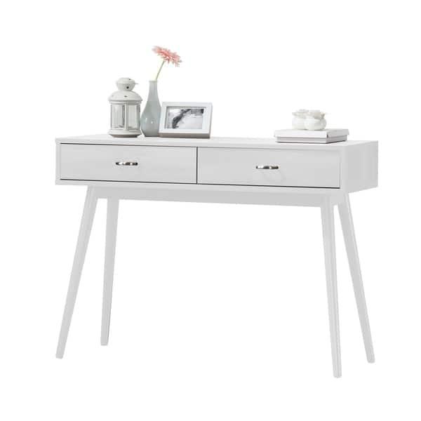 Montage White 2 Drawer Mid Century Modern Desk