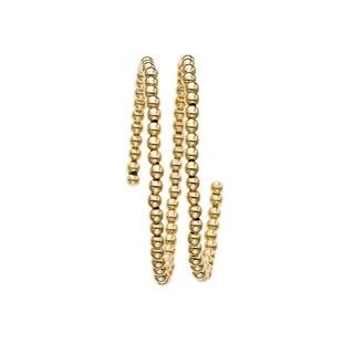 Royal Chain 14k Yellow Gold 2.75mm Shiny Double Strand Wrap-Around Bead Bangle