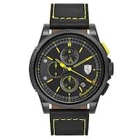 Ferrari Formula Black and Yellow Stitching Leather Strap Italia S Men's Watch