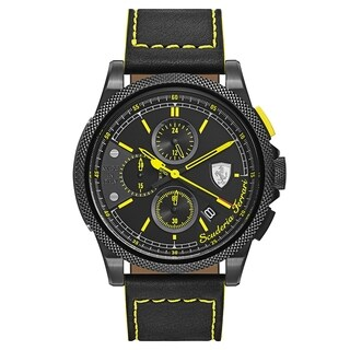 Ferrari Formula Black and Yellow Stitching Leather Strap Italia S Men's Watch