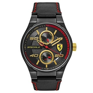 Ferrari Speciale Black and Red Stitching Leather Strap Men's Watch