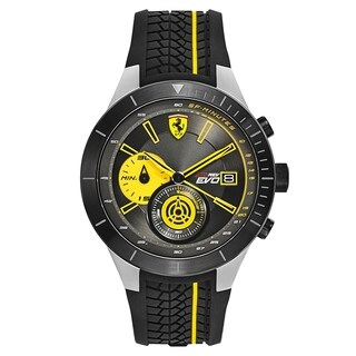 Ferrari Red Rev Evo Black and Yellow Silicone Strap Men's Watch