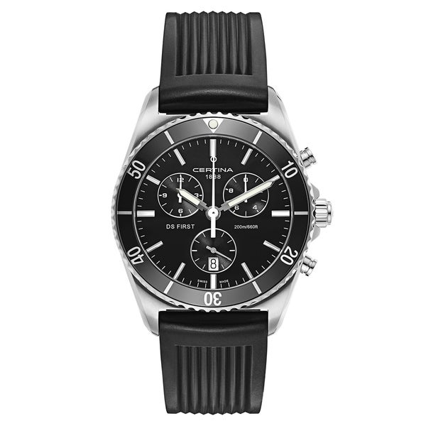 Certina DS First Black Rubber Strap Chronograph Men's Watch