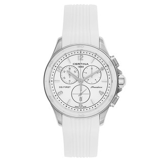 Certina DS First Lady Chronograph White Rubber Strap Women's Watch