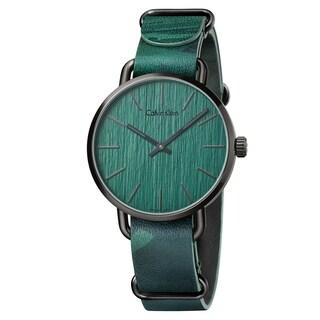 Calvin Klein Even Green Leather Strap Men's Watch