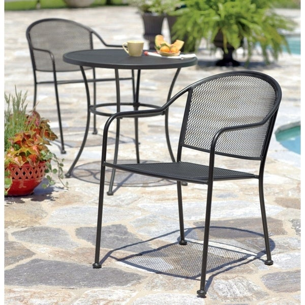 shop living accents seville black wrought iron with mesh stackable rh overstock com living accents outdoor patio furniture living accents patio furniture reviews