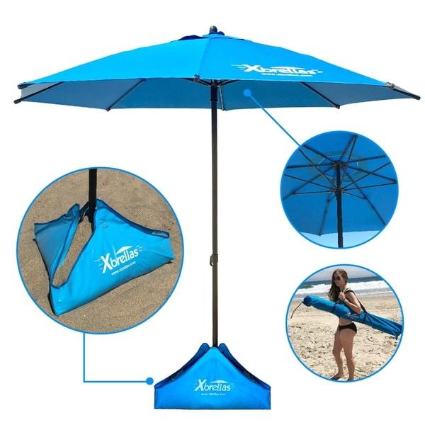 Xbrella Best High Wind Resistant Large 7 5 X27 Beach Umbrella