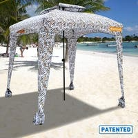 EasyGo Cabana - 6' X 6' Beach Umbrella & Sports Cabana - Tropical Pattern