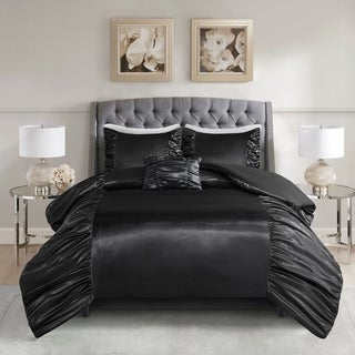 Madison Park Shelby Black 4 Piece Silky Satin Duvet Cover Set