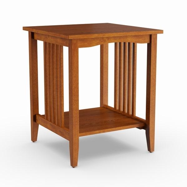 Porch & Den Clifton Mission Medium Oak Wood Finish Side Table