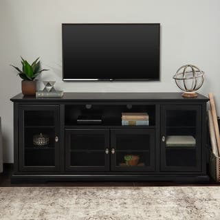 clay alder home toston 70 inch black wood highboy tv stand - Glass Entertainment Center