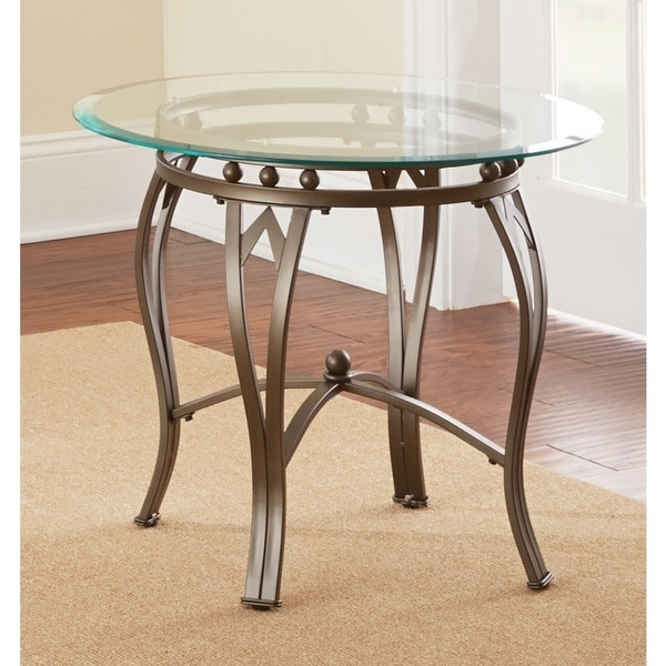Copper Grove Woodend Glass-top Round End Table