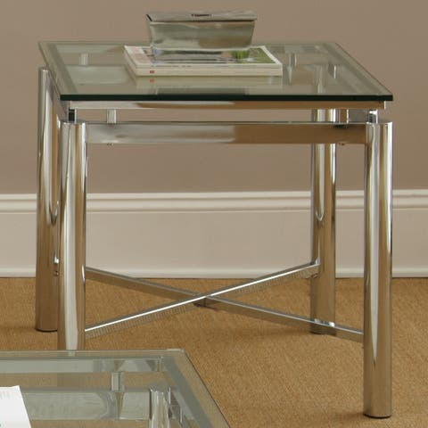 Strick & Bolton Jules Chrome and Glass End Table