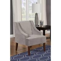 Porch & Den Los Feliz Lyric Dove Grey Velvet Swoop Arm Accent Chair