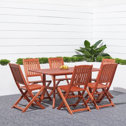 Surfside Eco-friendly 7-piece Wood Outdoor Dining Set with Foldable Armchairs by Havenside Home