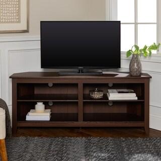 58-inch Espresso Wood Corner TV Stand