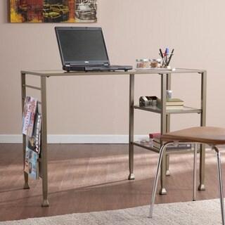 Porch & Den RiNo Brighton Matte Gold Metal and Glass Writing Desk
