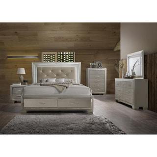 Silver Orchid Odette Glamour King Platform Storage 6-piece Bedroom Set