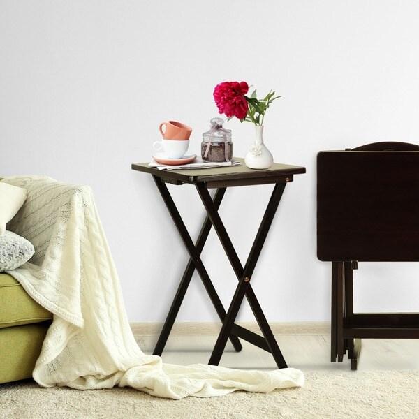 Porch & Den Laflin Solid Wood Traditional 5-piece Tray Table Set