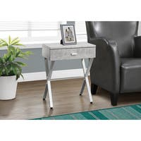Porch & Den Lochwood Lippitt Grey Faux Cement/ Chrome Metal Accent Table