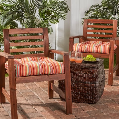 Colton 20-inch Outdoor Stripe Chair Cushion (Set of 2) by Havenside Home - 20l x 20w
