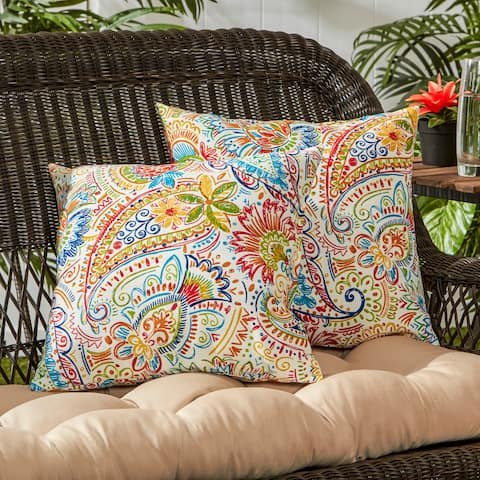 Christiansen Painted Paisley 17-inch Outdoor Accent Pillow (Set of 2) by Havenside Home - 17w x 17l