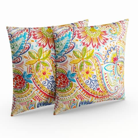 Christiansen Paisley Outdoor Throw Pillow (Set of 2) by Havenside Home - 17w x 17l