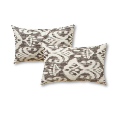 Elizabeth Coastal Ikat 12-inch x 19-inch Outdoor Rectangle Accent Pillows (Set of 2) by Havenside Home - 12h x 19l